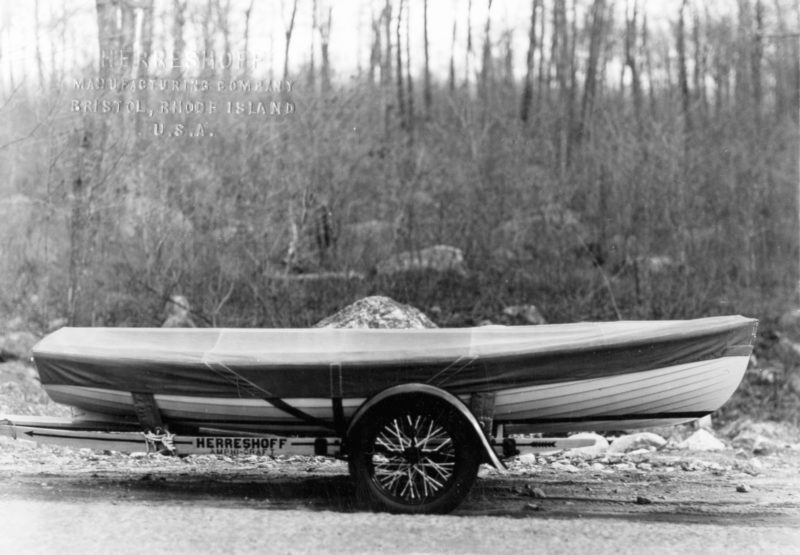 The Amphi-craft came with its custom trailer and canvas cover and cost $560. An outboard added $55 to the cost.