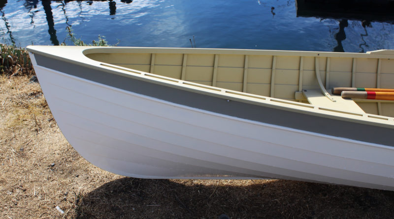While WIWONA had a touch of tumblehome in its stem, a common feature of Adirondack guideboats, Ebb's stem is angled forward.