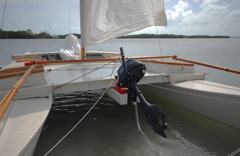 The Tiki 21 plans include a motor mount set within the deck. The pod added to this boat frees up deck space and includes a place for the gas tank. The cross beams, or akas, are stitch-and-glue I-beams.