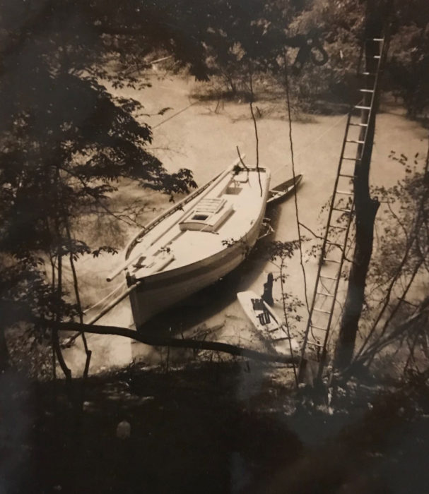 BOGLE, a 34' Galway Hooker that Dad built, is moored in the Yazoo swamp before its big trip downriver. From this voyage we have the diary that chronicles the misery of the participants.
