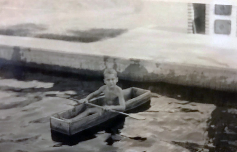 Dad started building boats early and did sea trials in the old swimming pool.