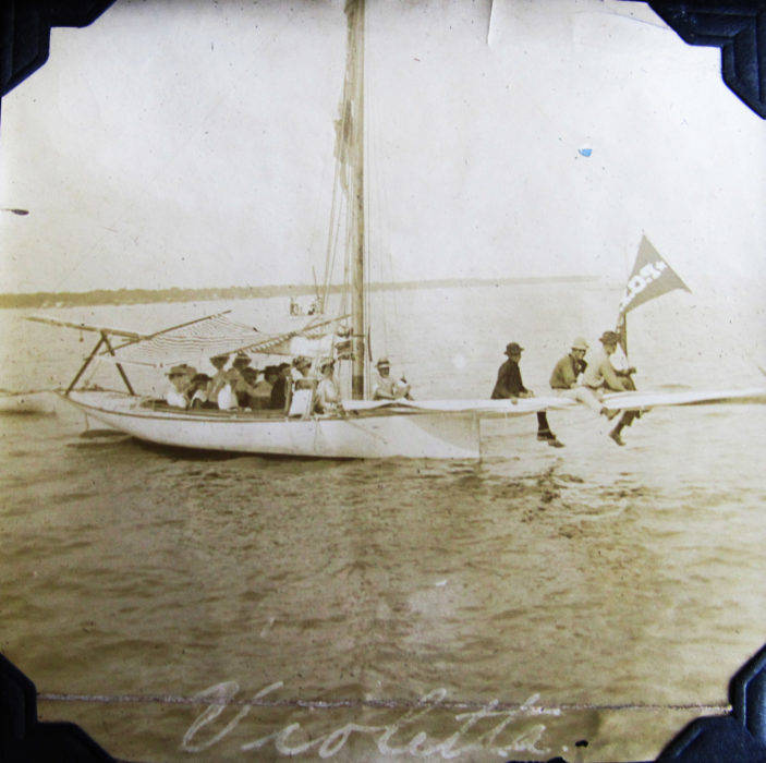 My great-grandfather's boat, VIOLETTA, sailed out of Pass Christian and was a favorite of the family. Family lore is that the boat is a New York Sloop and that it's not likely that he built the boat. The burgee for the Pass Christian Yacht Club flies from the forestay.