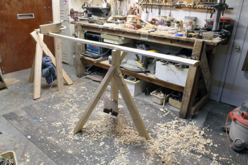 The original stands would have been nailed to the floor, but with a concrete floor I resorted to weights.