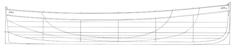 The lines for the 15' Sailing Dinghy were stretched from those for Stirlings 14' Sailing Dinghy (shown here).