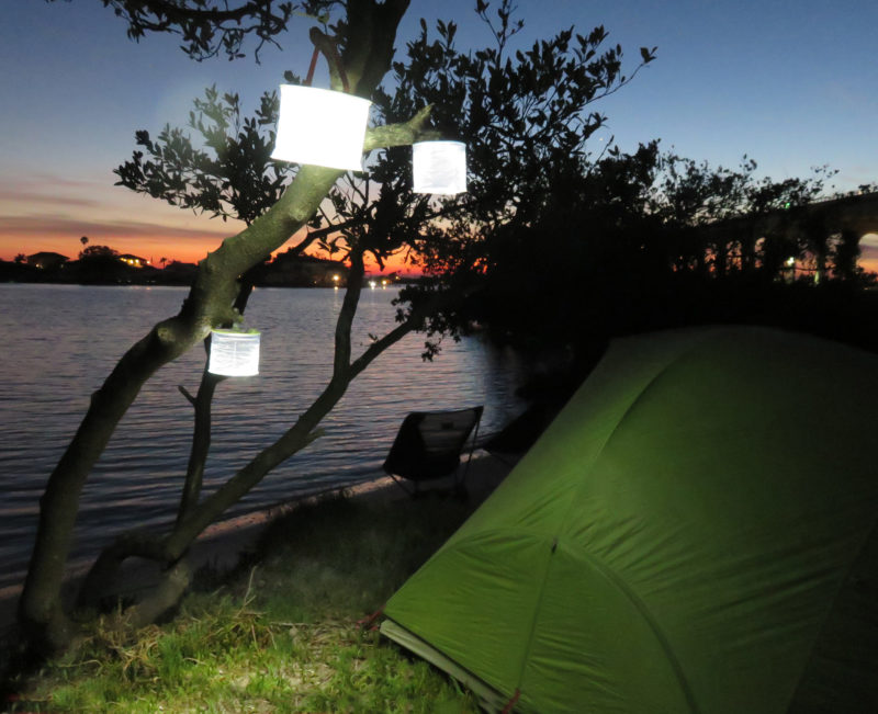 The lanterns all provide a board area of diffused white light.