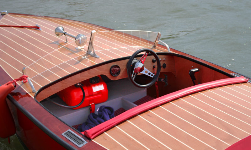 The battery and fuel tank (visible here ahead of the foot well) are carried forward to help maintain good trim.