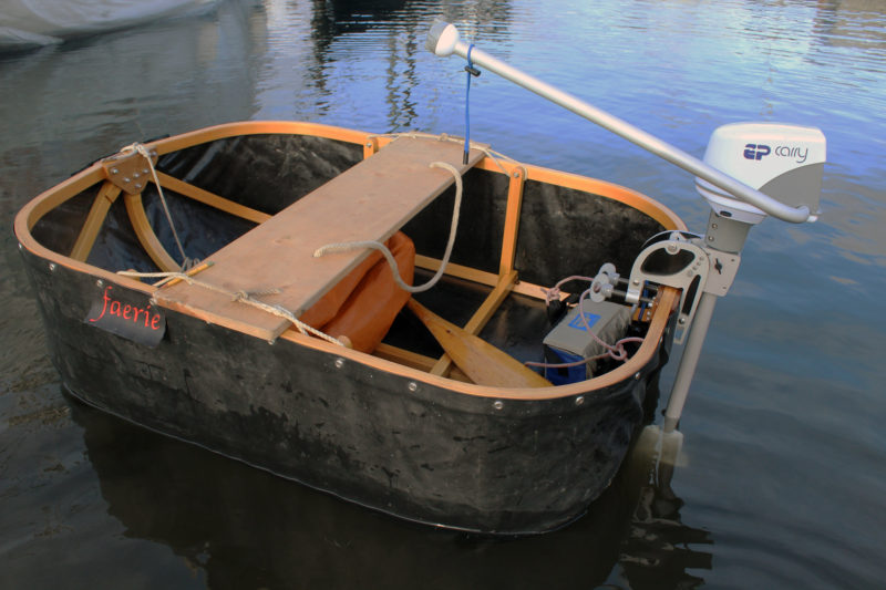 The EP Carry's light weight makes it a good match for a very small boat.