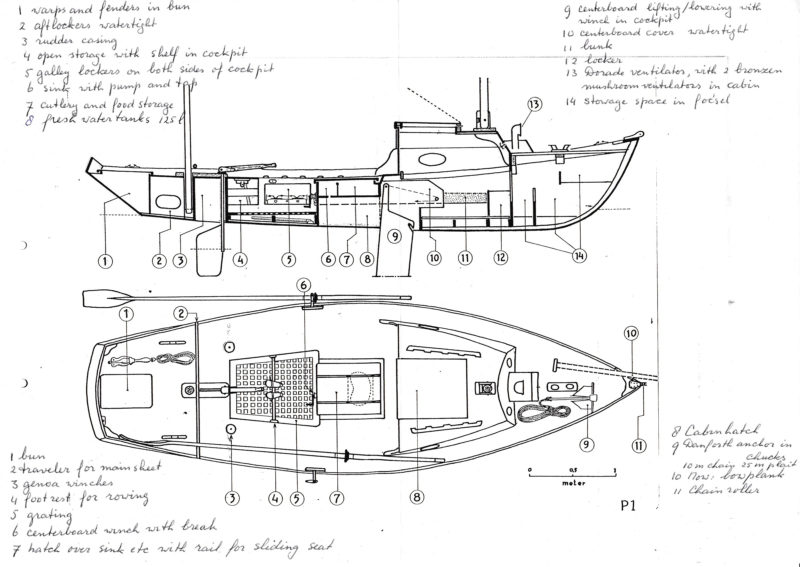 Peter provided the Elliott brothers with detailed drawings and notes for the modified Drascombe Longboat that he wanted them to build.