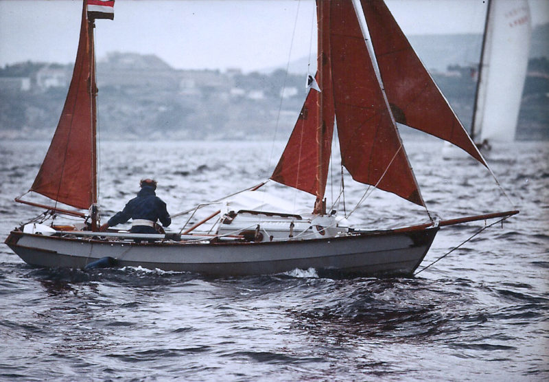 Peter, still cruising solo, sailed the coast of Corsica. under full sail. 1980