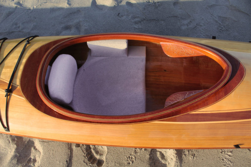 The carved closed-cell seat is very comfortable and assures a solid non-slip connection with the kayak.