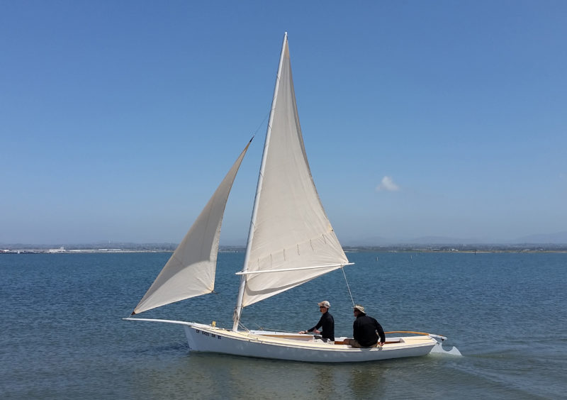 The 151 sq ft of sail can get the skiff moving at a brisk 6-1/2 knots in 12 to 15 knots of wind.