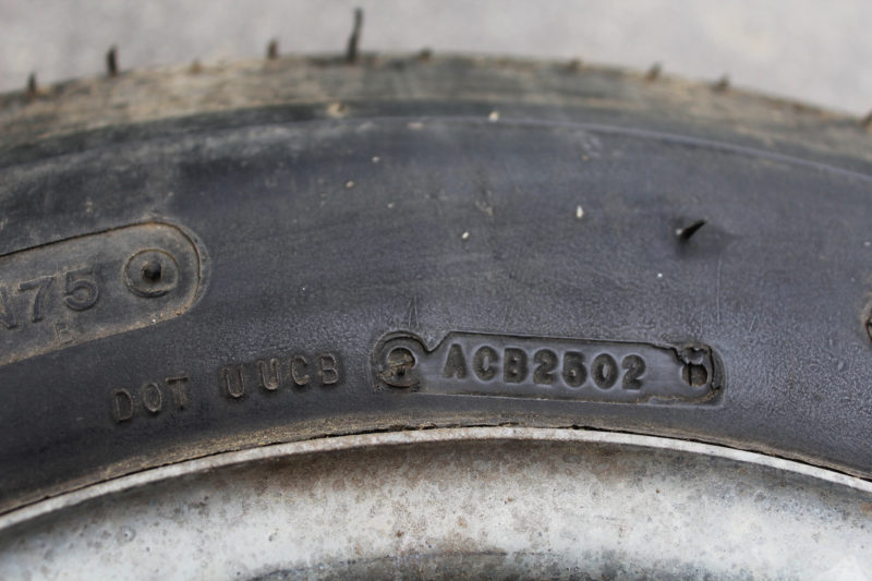 "Of all the letters and numbers in the Department of Transportation (DOT) code, the last four are the most important. Here ""2502"" indicates the tire was manufactured in the 25th week of 2002."