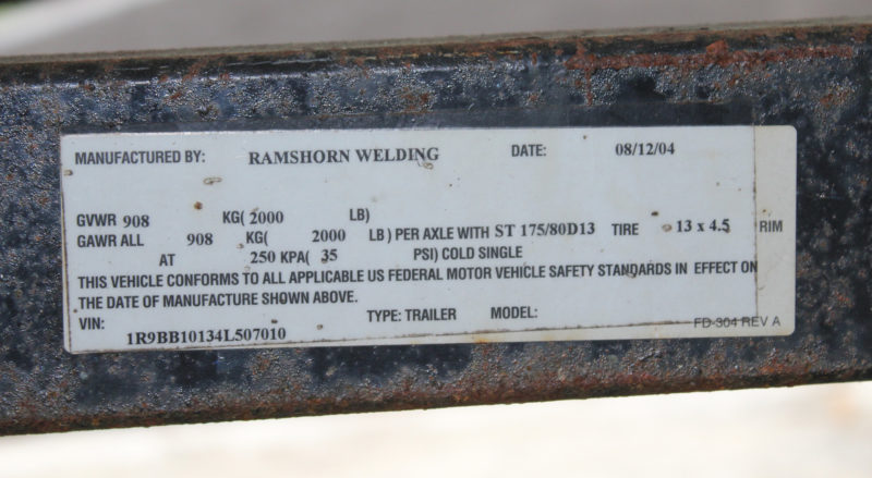 The label on the trailer will note, among other things, the recommended tire size. This trailer takes ST 175/80D13 tires.