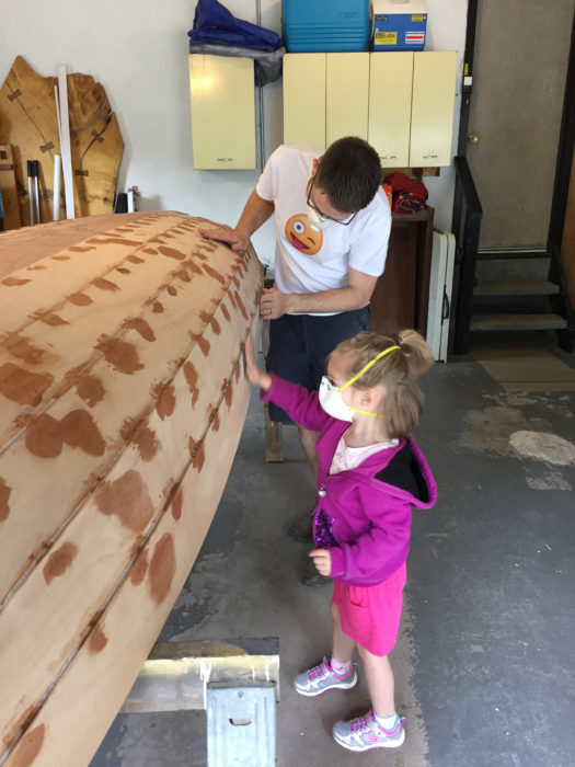 James' daughter Kyrie was three when construction began. By the time she had turned four, she had taken an interest in helping build the boat.