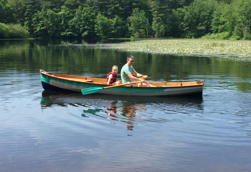 The boat was launched on Lake Wintergreen in Connecticut's West Rock Ridge State Park. James and Kyrie take the first row.