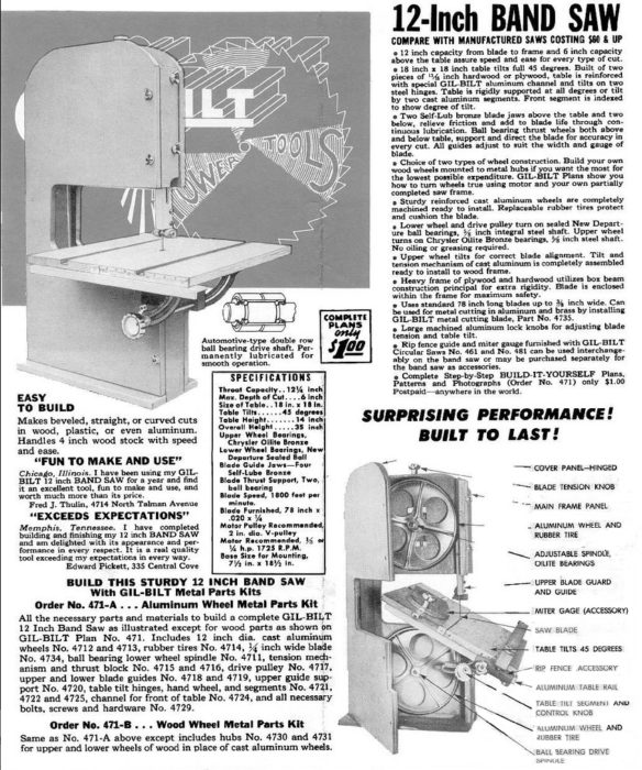 This one of the once ubiquitous ads for the bandsaw that turned me from someone who wanted a boat to someone who wanted to build boats.