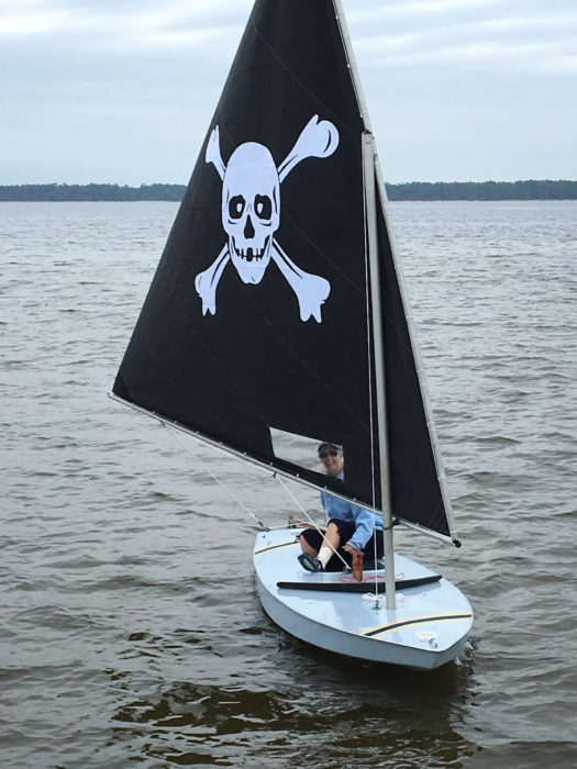 Insignia cloth was used to make the skull and crossbones on the sail as well as the racing stripes on the deck.