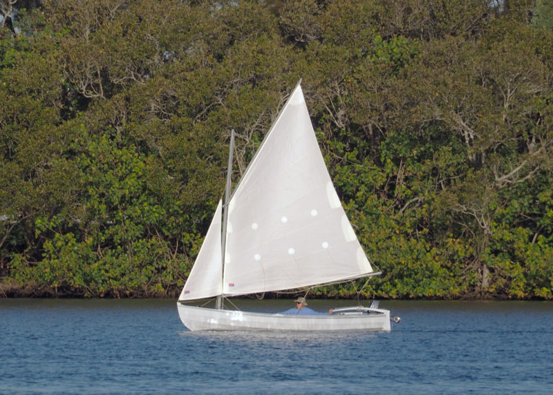 This Periwinkle carries the gaff cat with jib rig with a total of 132 sq ft of sail.