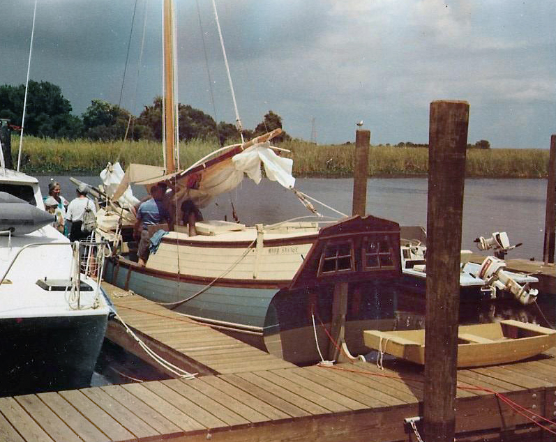 We arrived in Apalachicola in July of 1991. Though we stayed aboard MARY SAVAGE in her slip at the Deep Water Marina, we began to put down roots. During the summer we kept after cabin windows open and a rigged a makeshift awning to provide some shade.