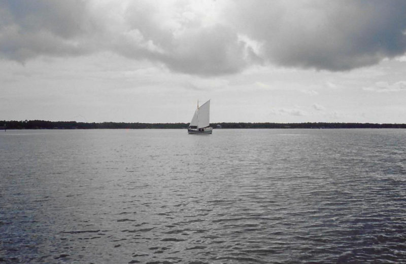 Beyond the confines of the Mississippi River, MARY SAVAGE sailed along the Gulf Coast with just the gaff main and the staysail set. The boat had a bowsprit and a jib but 90 percent of the time we sailed without it.