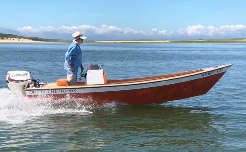 On flat water the 30-hp outboard pushes the skiff along nicely at 25 mph.