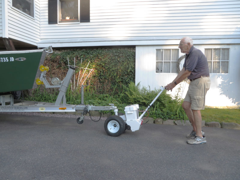 The dolly offers both a good view of the trailer and the precise maneuverability that Al requires to get his trailer through the tight squeeze of his garage opening.