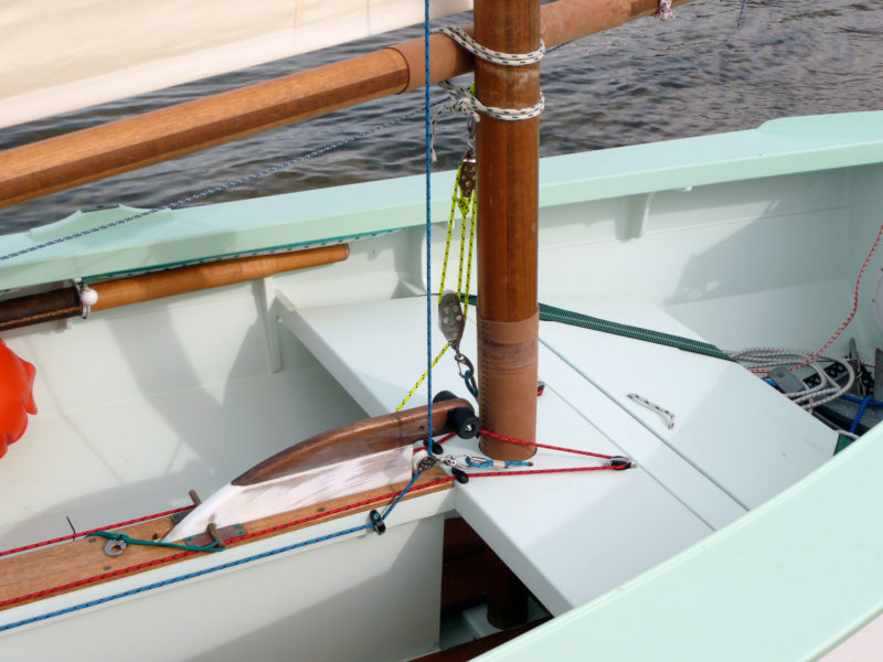 The center mast partner braces the forward end of he centerboard trunk. The mast's leather is long enough to protect the the mast in either of partners it can be placed in.