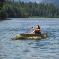 Harry takes his canoe to many riverside gatherings and lets people give it a try.
