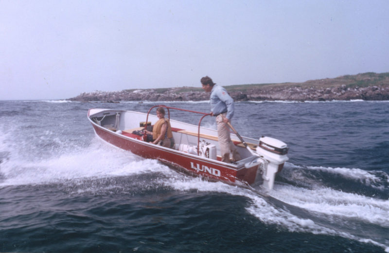 At relatively low cost, the S-18 as a pleasure boat serves well on ocean waters. Stuart and Ellen Dawson, associated with the Island Institute, give their Lund a workout in choppy going.