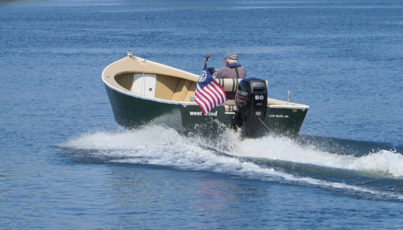 The Albion's broad stern can easily support the weight of a 50-hp outboard.