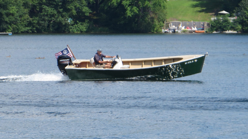 With the 60-hp outboard at full throttle, the Albion carves turns without skidding.