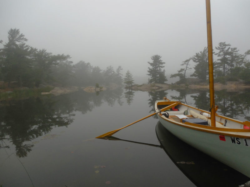 A foggy morning on Tanvat Island's east side inspired a lengthy rowing expedition before breakfast. On the chart, this bay was a dead end, but high water levels on Lake Huron and Georgian Bay allowed me to row all the way through and out the other side.