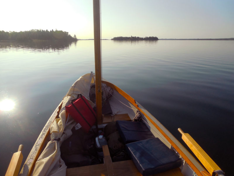 After spending the first night on East Rous Island I woke to the flat calm of a typical North Channel summer morning. Three hours later, after rowing 6 miles and stopping briefly in the town of Little Current, a slight breeze arrived and I could stow the oars and raise the sail.