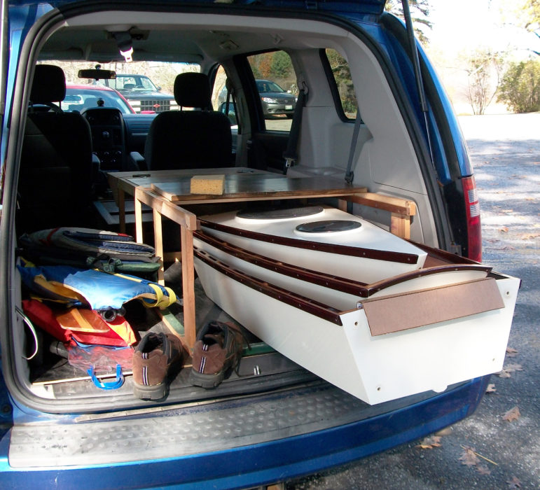The first 12-footer fit in Tom's van with plenty of room left for other gear. Tom would later build a second 12' boat and find room for it in the van.