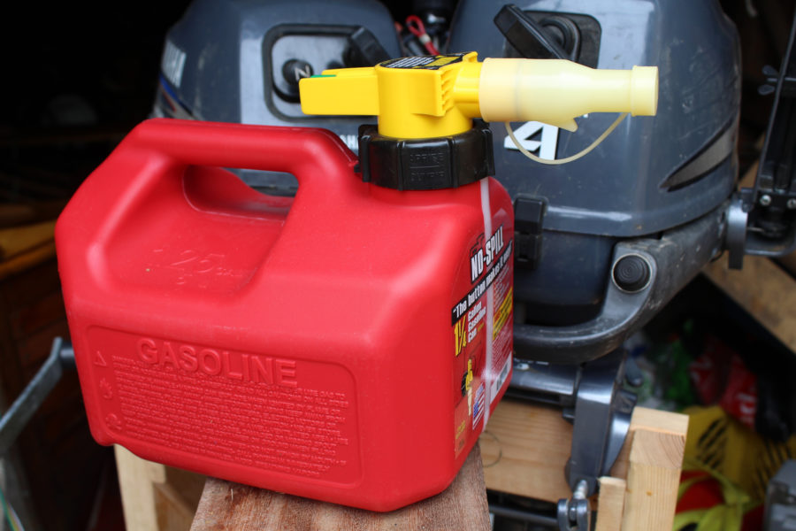The NoSpill gas can has several features that make it easier to avoid spills and overfilling at the gas station and aboard the boat.