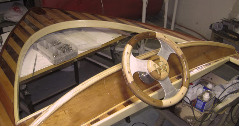 The core of the wheel is aluminum salvage from the original seats after they were removed.