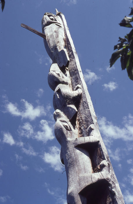 At Mamalilikulla, the settlement on Village Island, this totem pole was standing and beauty of its carvings was undiminished by age and weather.
