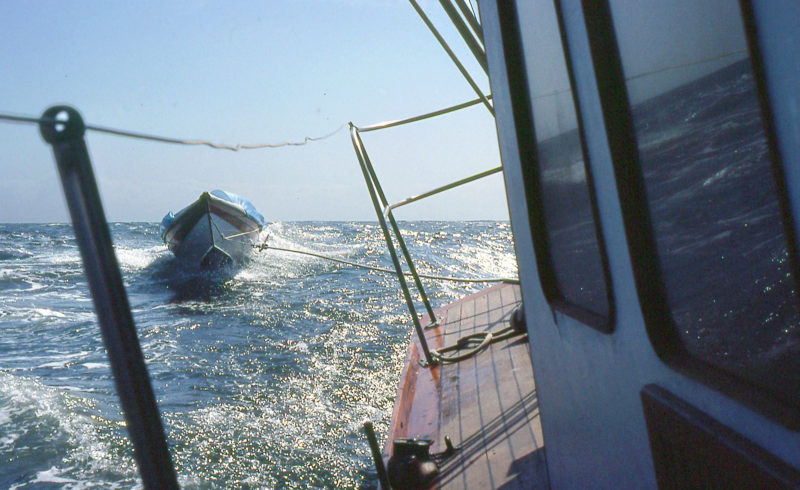 With RAINBOW exceeding 10 knots, GAMINE leapt over the windwaves but survived the crossing of Queen Charlotte Strait.