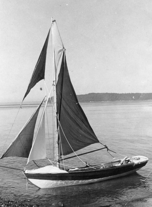 Moments before setting out from Mukilteo, GAMINE sits ready with all sails ready to catch what little breeze there was.