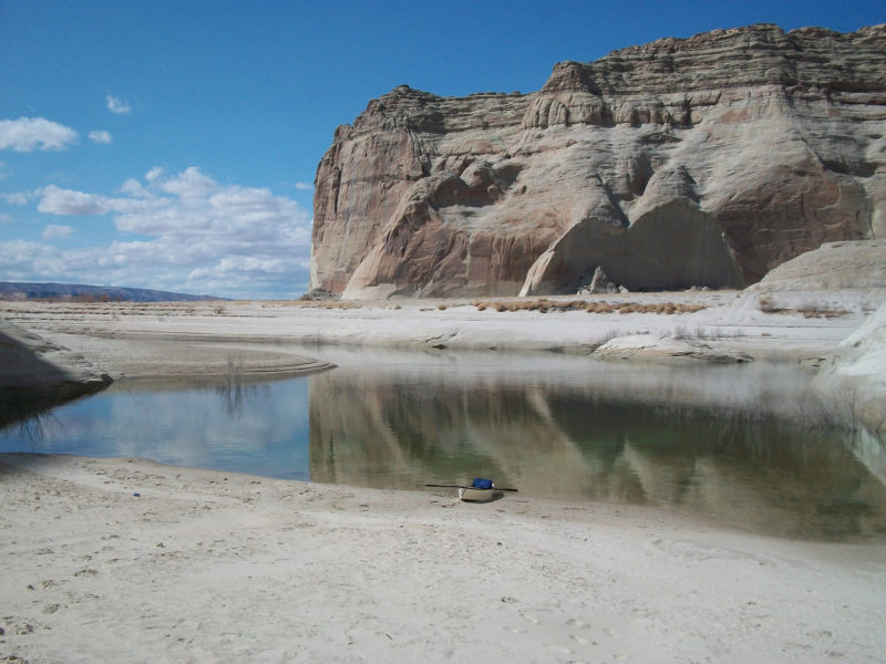 Hepp's boats are small, but they took him into grand landscapes, like the Glen Canyon cliffs surrounding Lake Powell.