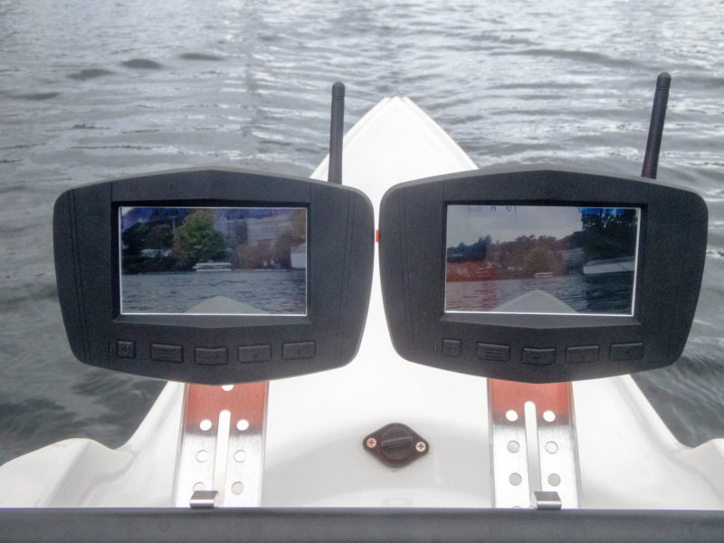 The author tried both the Tight Angle Camera (its image shown on the monitor on the left), which is standard with the Cruz kit, and the standard Angle camera (image shown on the monitor on the right).