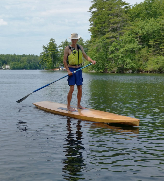 This paddler has plenty of freeboard. The Taal is designed to carry up to 250 lbs.