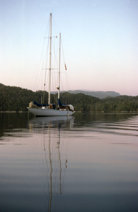 With the rough passage across Queen Charlotte Sound and past Cape Caution behind us, RAINBOW reached a calm refuge at Calvert Island.
