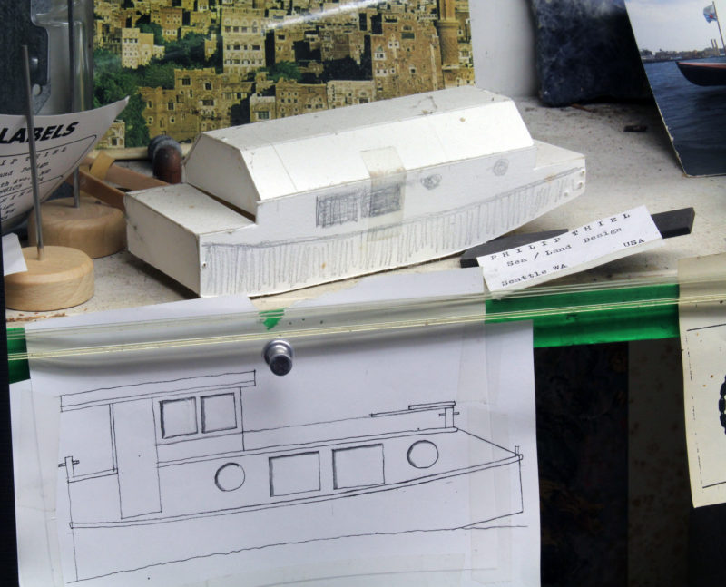 """Phil made a lot of paper models as he developed his design. This one appears to be the 22' 9"""" Joliboat. He used a similar angled roof as an option to provide more headroom in the L'Ark version of the 18' 6"""" Escargot. The drawing is a freehand sketch of the 22' 9"""" Friendship."""