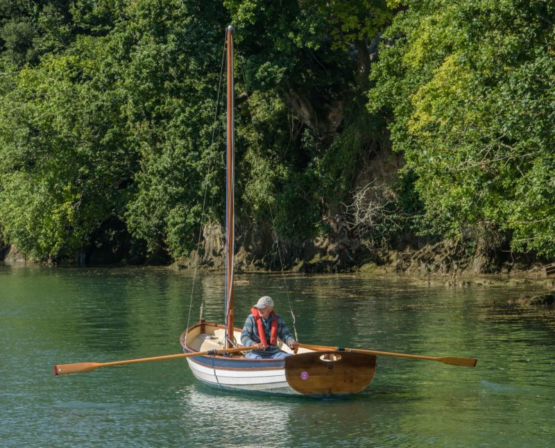 """With a beam of 5' 6"""", the Swallow needs long oars. The pair here are 9 1/2'"""