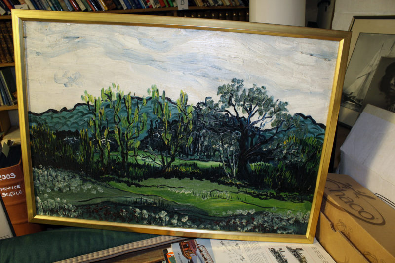 "Hidden in the library was this painting. On the back is written in Phil's hand: ""Philip Thiel, late '40s, early '50s while student at M.I.T."" His oils were applied quite thick and gave the painting a rich texture. I knew he could draw well, but his was the first indication I'd had that Phil was, among everything else, a talented painter with an exceptional feel for color and free-flowing forms. It was a side of him that I discovered only after he was gone."