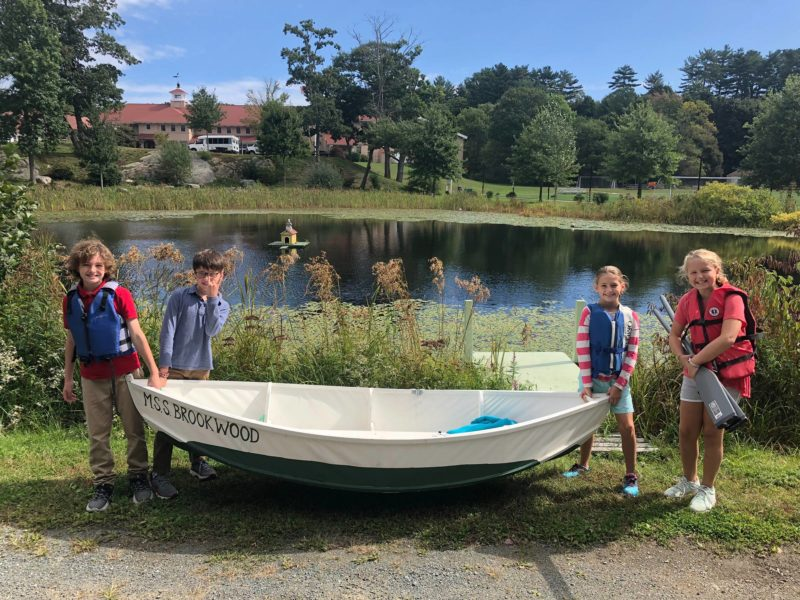 Middle schoolers have the privilege of taking MSS BROOKWOOD out rowing on Cutler Pond on the edge of the school grounds.