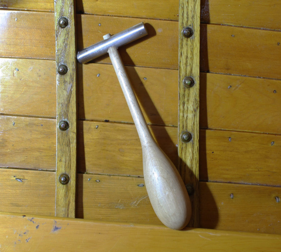 A common ball-peen hammer may have a head that is too heavy; it may buckle the rivet's shaft within the wood pieces it's joining and be tiring for the user. Tom DeVries made riveting hammers to do a tedious job more effetively.