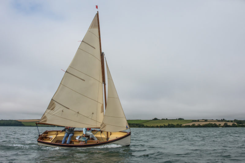 The Swallow carries a gunter main with an area of 94 sq ft and a jib with 29 sq ft.