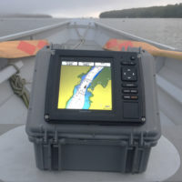 The larger screen is much easier to read than the screen of a handheld GPS. The box makes the unit self contained and portable.